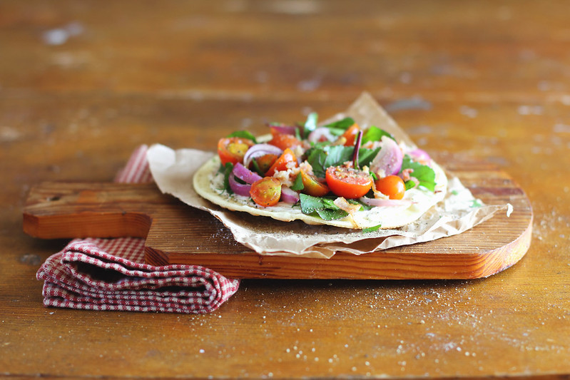 Flatbread with Tomatoes, Bacon and Chard