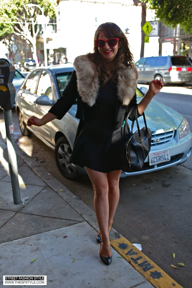 kate spade, red sunglasses, faux fur, black dress, pumps, heels, san francisco, sf, thesfstyle, street fashion style, san francisco fashion blog,