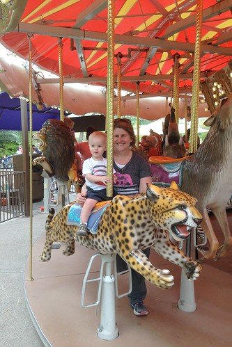 Easter 2014 - Good Friday - Zoo - My first merry go round ride with Caden