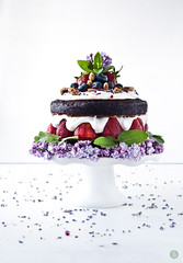 Vegan carob layer cake (tort) with coconut whipped…