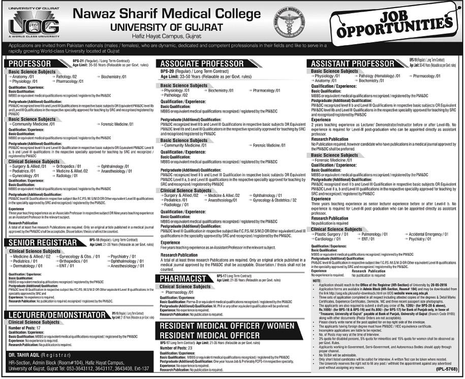 Nawaz Sharif Medical College University of Gujrat Jobs 2016