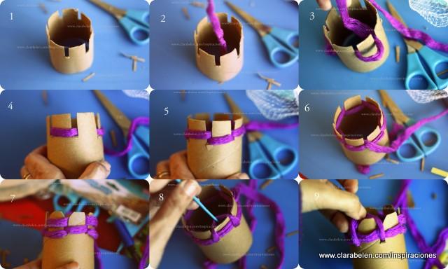 Tejer con niños: Crear tejedora circular con rollos de cartón