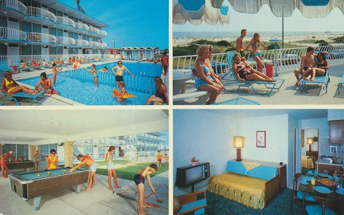 pool vintage newjersey postcard billiards lounging roomview shuffleboard wildwoodcrest quadview