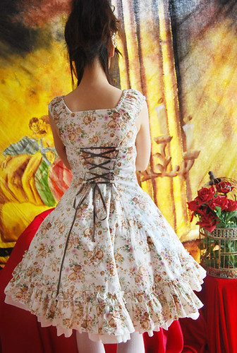 Infanta A Line Lace Up Bowknot Printed Cotton Lolita Dress4