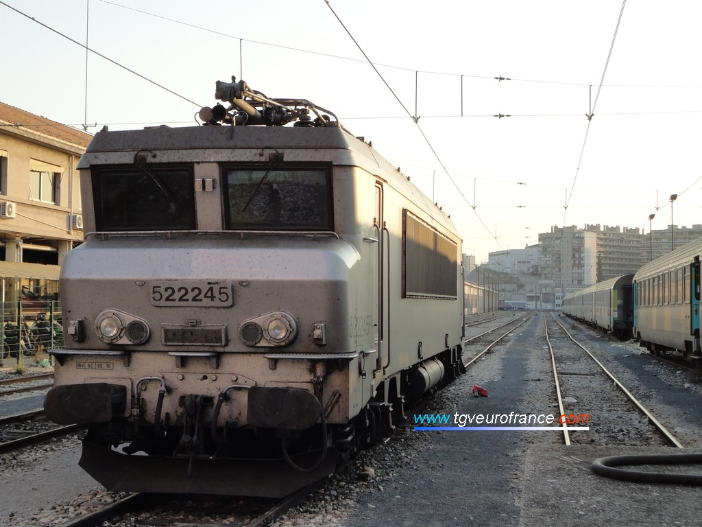 The BB 22245 SNCF locomotive in Marseille Saint-Charles