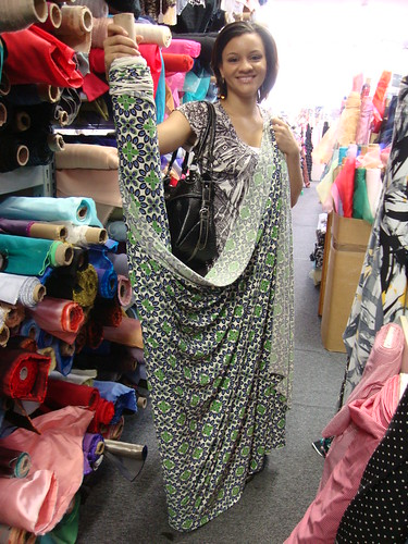 Vanessa and her favorite fabric at Gail K Fabrics