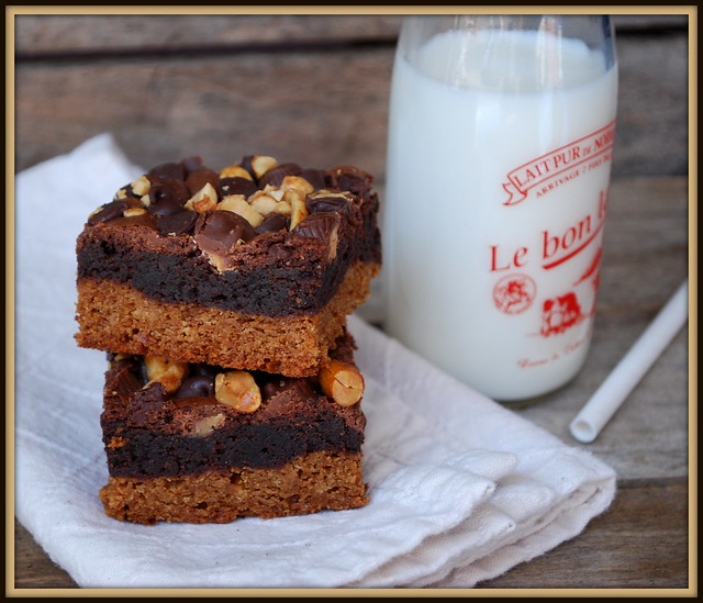 Double Decker Peanut Butter Brownies