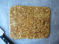 peanut butter oatmeal bars, sliced
