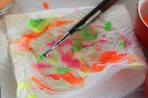 blotted paint on paper towel