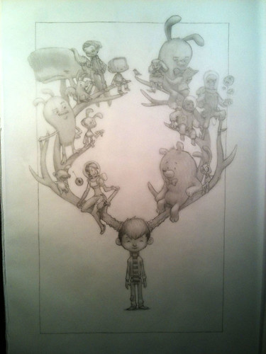 The Antler Boy Cover - Pencils
