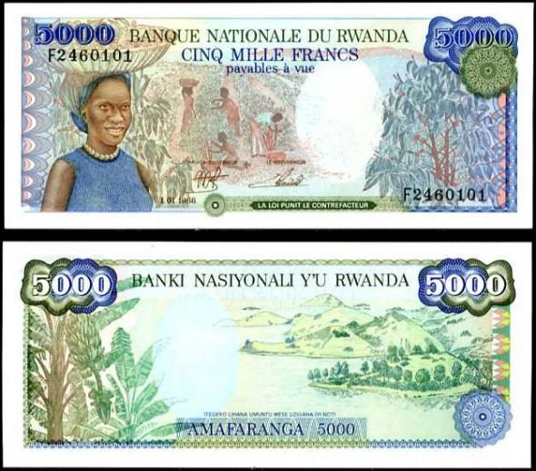 5000 Frankov Rwanda 1988, Pick 22