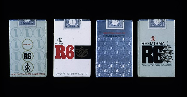 R6 cigarette packs designed by the Lubalin studio