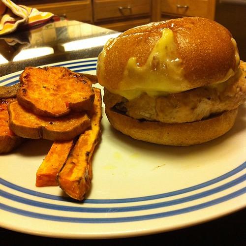 Turkey Burger + Sweet Potato Fries #wfd