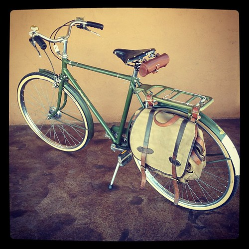 1974 Raleigh Superbe project: new seat, converting Filson field bag to pannier. by ConserVentures