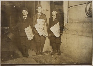 These boys, 10, 11, and 12 years old, were stuck with over fifty papers in their hands, and vowed they would stay until they sold out if it took all night, April 1912