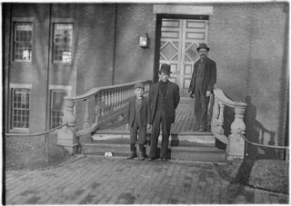 Going to work at 5:30 A.M. Small boy named Jo is a sweeper in Hill Mfg. Co. Been there 2 years. Said he didn't know how old he was and he couldn't spell his name, April 1909