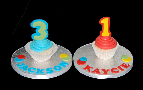 joint 1 and 3rd birthday cupcake tower -personalized jumbo cupcake tower toppers