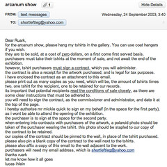email re arcanum exhibition
