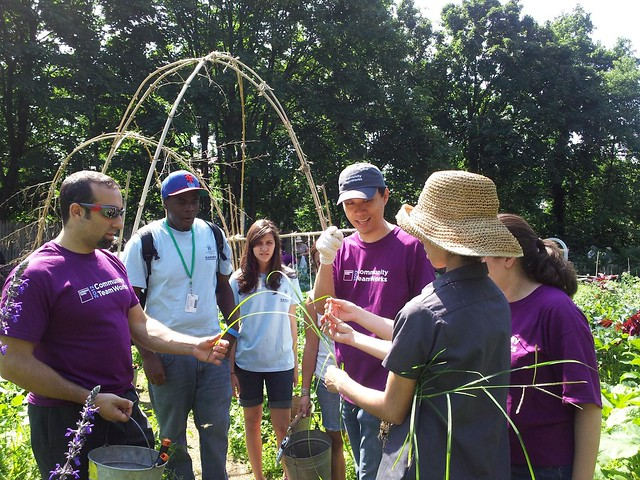 Volunteers and Garden Apprentices receive a quick lesson from GAP coordinator Saara Nafici. Photo by Hayley Levenson.
