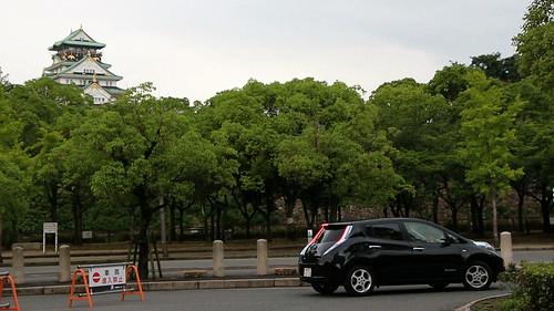 日産リーフと大阪城