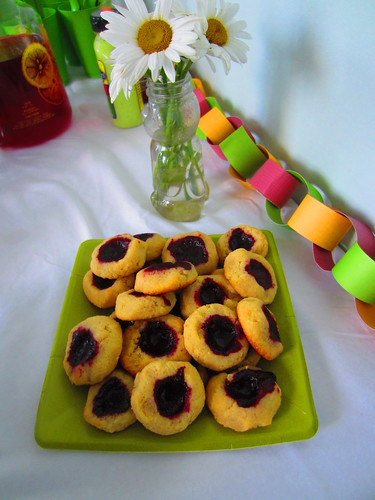 Thumbprint cookies at the potluck