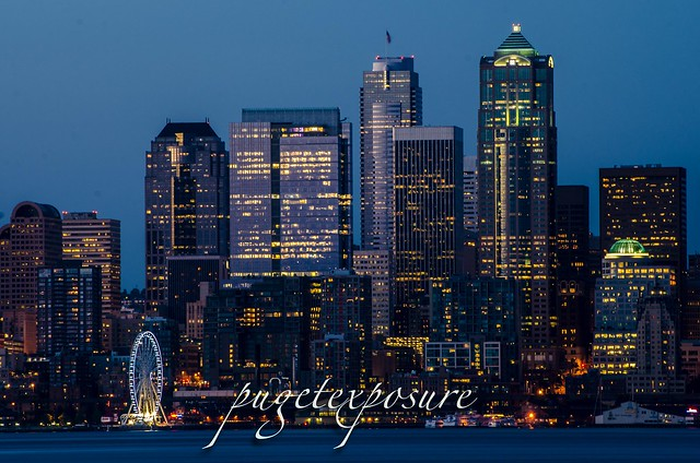 Seattle Waterfront and the new Great Wheel from Alki Trail