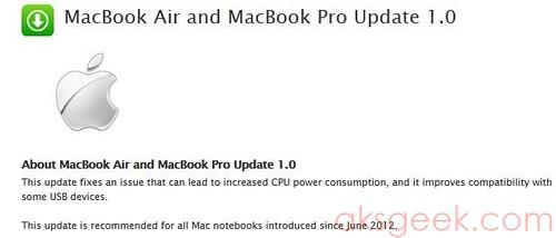 MacBook Air and MacBook Pro Update 1.0