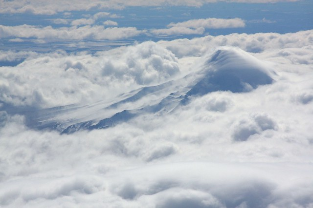 mt hood from the air