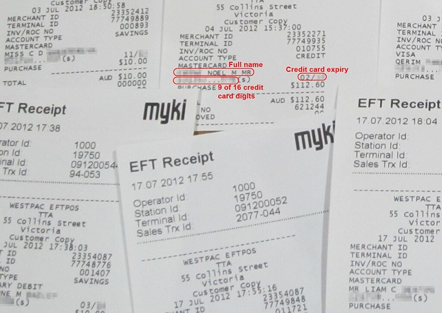 Myki receipts left behind at stations (some details pixellated)