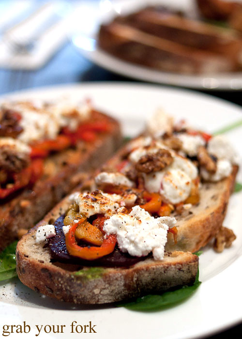 Goats cheese beetroot walnuts and roast peppers on toast at Beejay's Marrickville