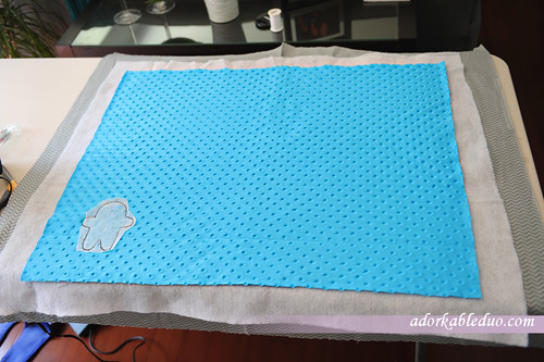 diy baby blanket with minky fabric, ninja, and mitered corners