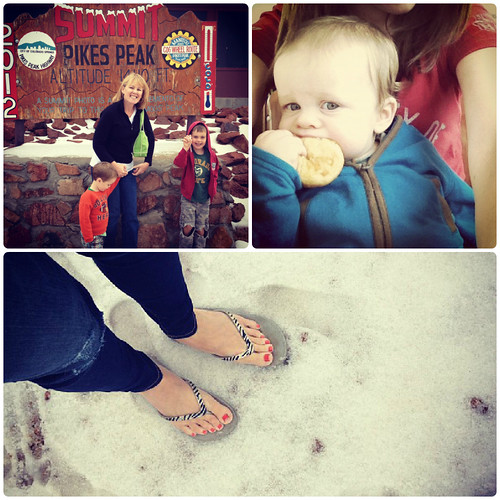Snow on Pikes Peak in July; baby with Pikes Peak doughnut; flipflops in snow