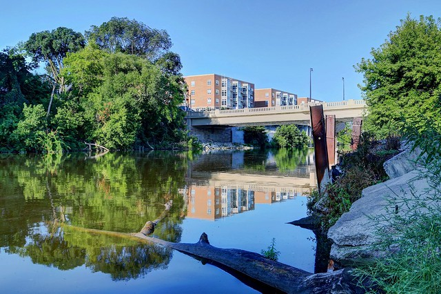 View of the Milwaukee River, July Morning, above Humboldt Avenue Bridge