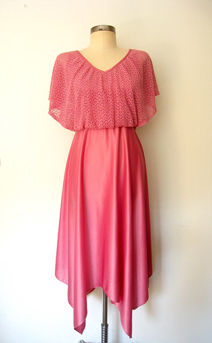 Petal Pink Pixie Hem Dress, vintage 70s