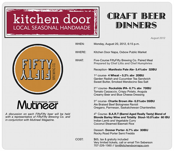 Kitchen Door Fifty Fifty Craft Beer Dinner