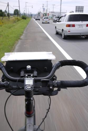 Constant traffic on road to Biei (Hokkaido, Japan)