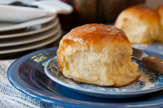 Sweet Potato Rolls with Honey-Butter Glaze--the glaze is optional. Makes a great slider bun for ham or pulled pork