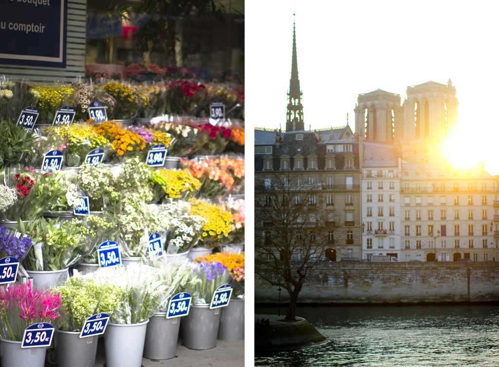 Paris flower shop and Notre Dame at sunset