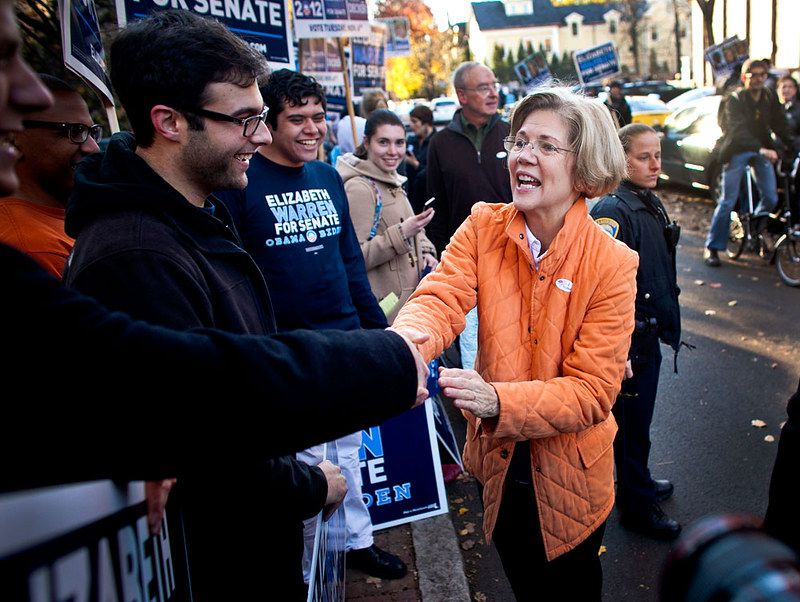 Warren With Supporters