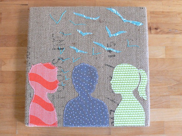 "Jenny Bartoy: ""Listening to Whispers"" Burlap Art"