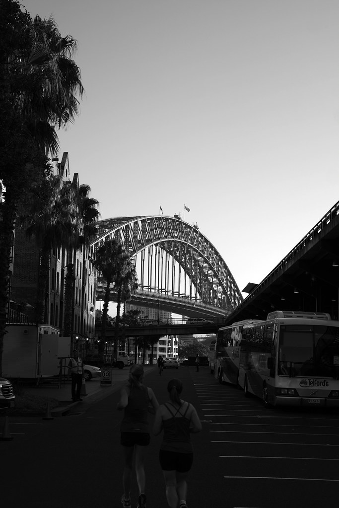 SIde street headed towards the Sydney Harbour Bridge