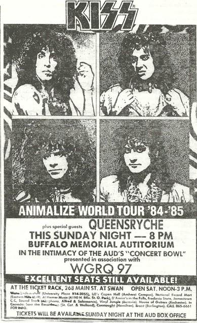 11/18/84 Kiss/ Queensryche @ Buffalo Memorial Auditorium, Buffalo, NY
