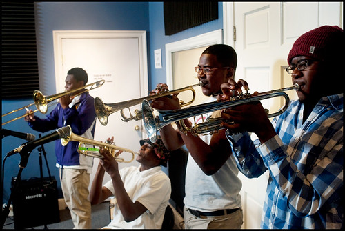 Edna Karr High School Brass Band at WWOZ:  Desmond Bemiss, Deon Butler, Brendan Smith, Bradley Louis Smith. Photo by Ryan Hodgson-Rigsbee www.rhrphoto.com