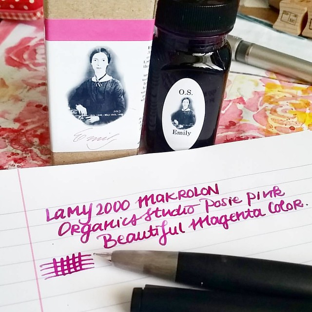 Inked my Lamy 2000 up with organics studio Etmily Dickinson Posy Pink. It's such a gorgeous color and I am generally not a Magenta color family fan. Also Organics Studio will be relaunching their inks soon! Huzzah!!