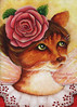 Rose Fairy Cat Art