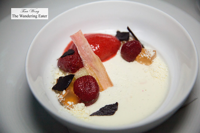 Strawberry hibiscus sorbet, laurel panna cotta, chamomile, celery