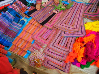 Muong Khuong Market fabrics