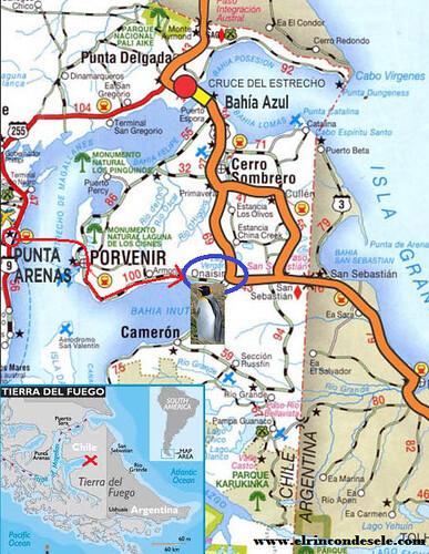Mapa de la colonia de piguinos rey de Onaisín