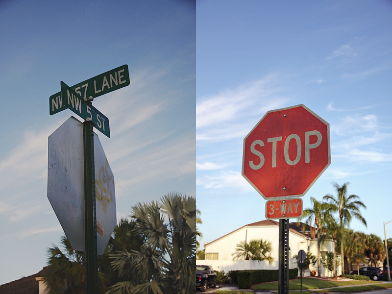 neighborhood stop sign diptych