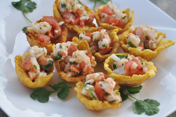 Shrimp Ceviche with Fried Plantain Cups
